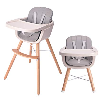 Amazon Com Han Mm Baby High Chair With Removable Gray Tray Wooden High Chair Adjustable Legs Harness Wood High Chairs Modern High Chair Wooden High Chairs