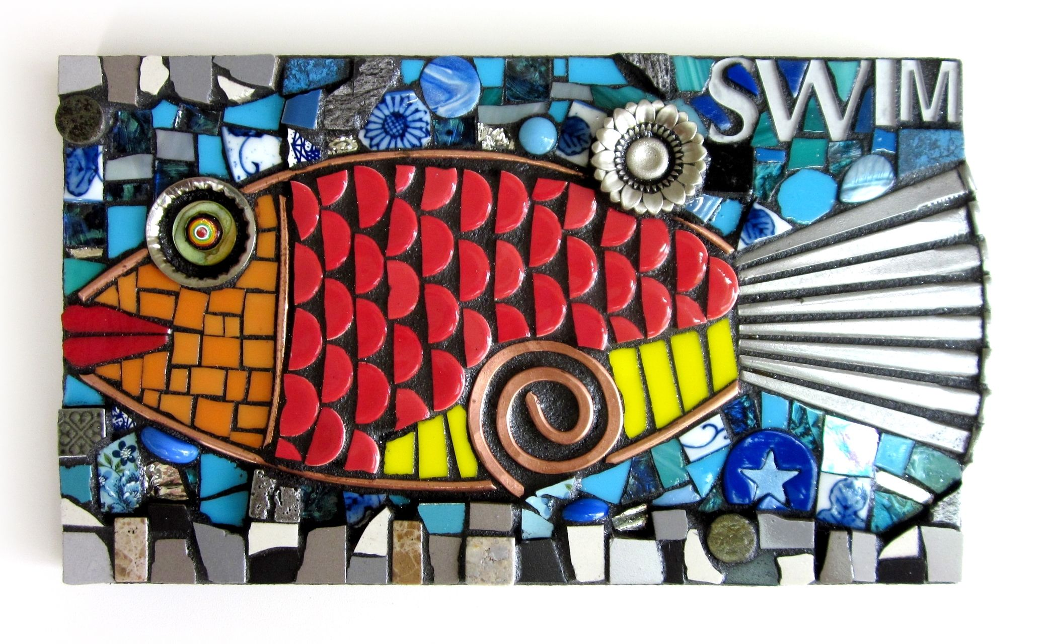 Swim. (Mosaic Fish Wall Hanging by Shawn DuBois) | Find objects ...
