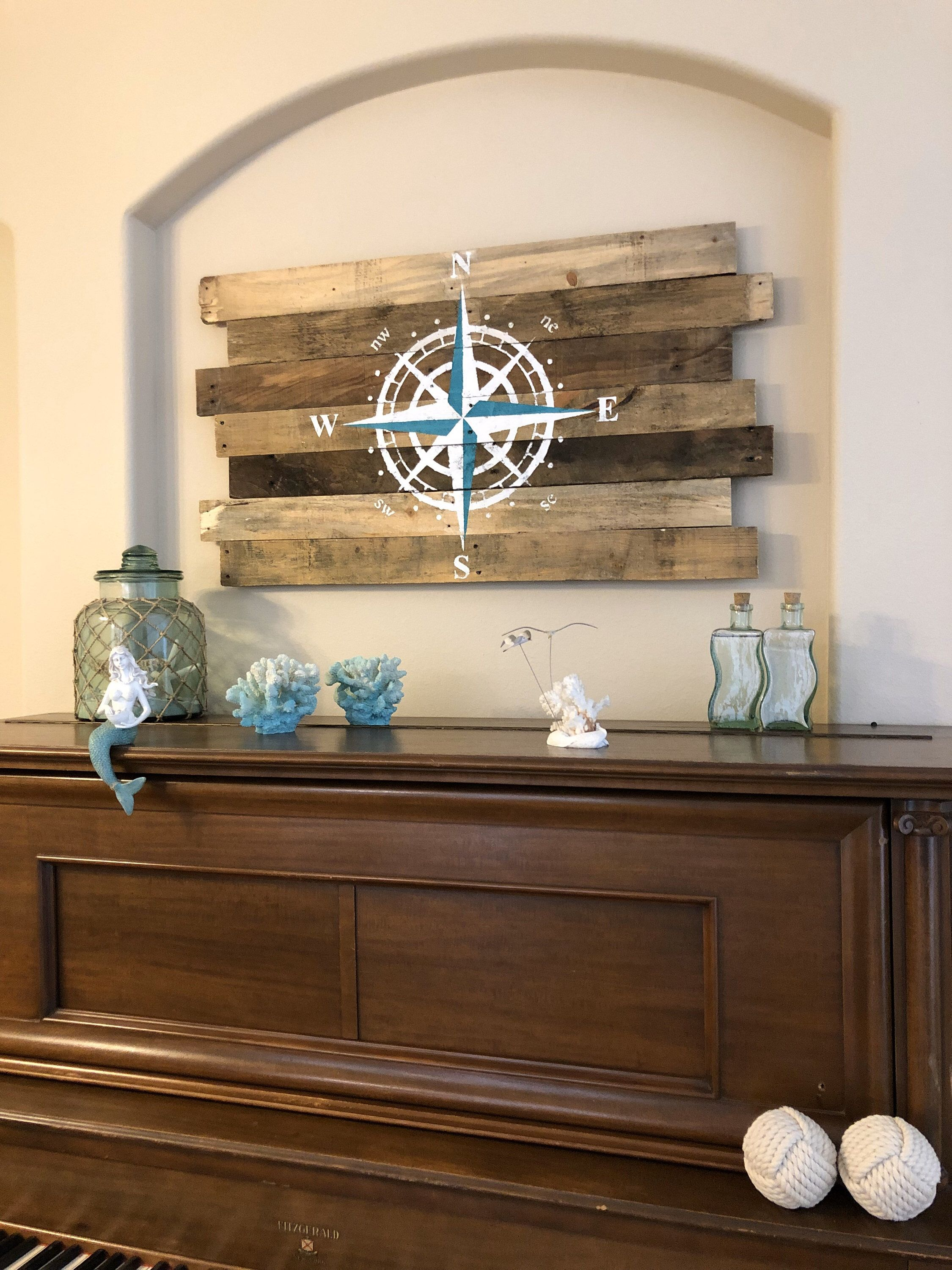 Photo of Nautical Decor Compass Rose White and Teal on Natural Wood  24″L x 43″W Beach Decor, Nautical, Beachy, Sea Sign, North South East
