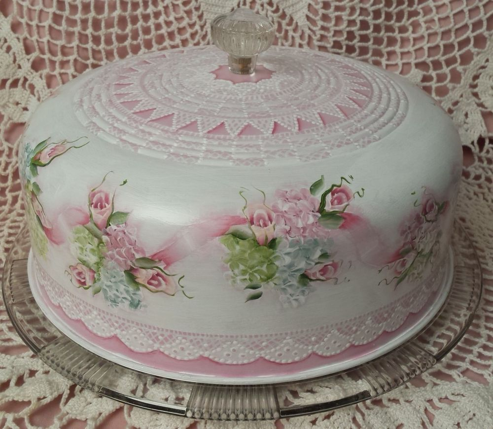 HP Vintage Cake Saver Cottage Chic Pink Roses Shabby Hand Painted Victorian Lace