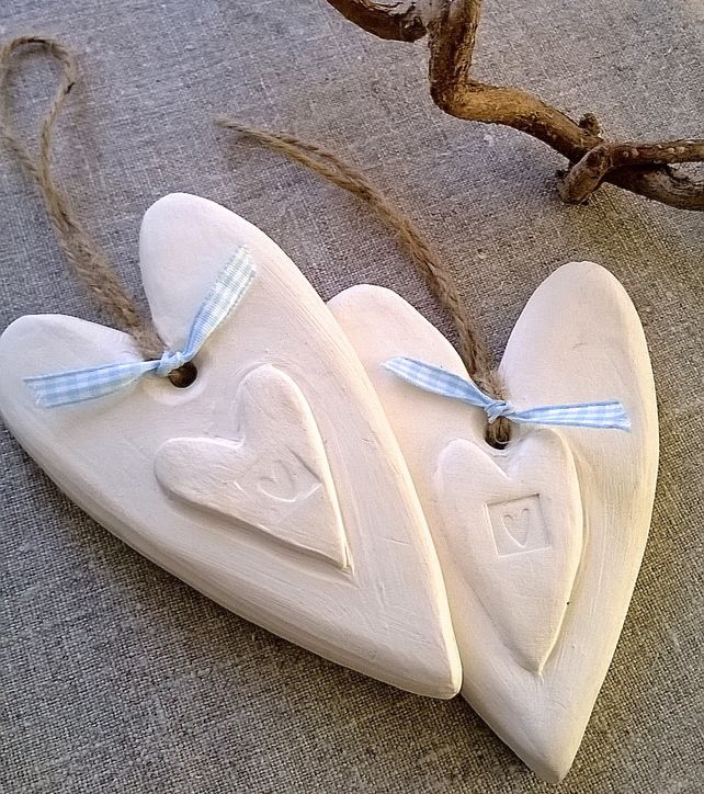 Rustic White Clay Heart £7.50
