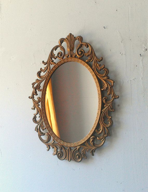 vintage oval ornate wall mirror bathroom girls room hallway french wall mirror