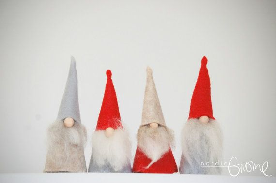 MINI gnome quad ,Red-Grey color group of 4, Tomte, Tomten, Nisse