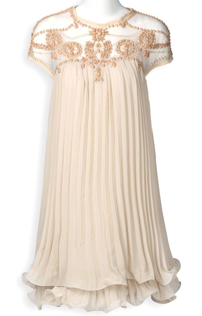 Vestido gasa plisado combinada-Arena EUR€34.94 http://es.sheinside.com/Apricot-Short-Sleeve-Lace-Pleated-Chiffon-Dress-p-112684-cat-1727.html