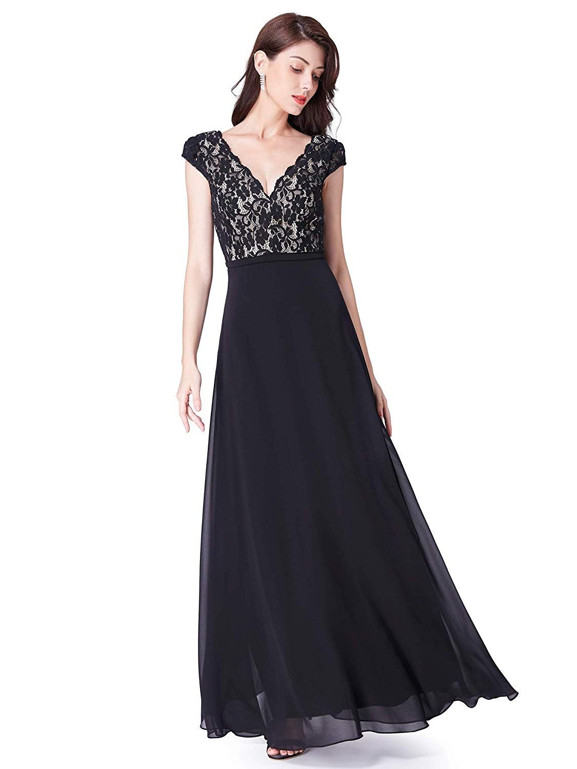 Ever Pretty Sleeveless V Neck Black Lace Embellished