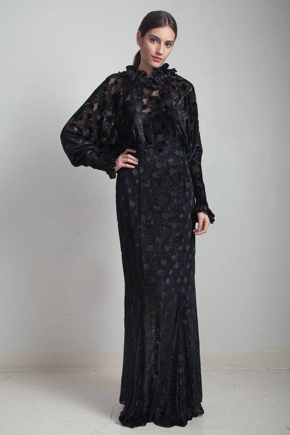 f20adda5d848 vintage 80s Torrente Paris sheer black velvet evening gown formal ruffled  collar rhinestone batwing