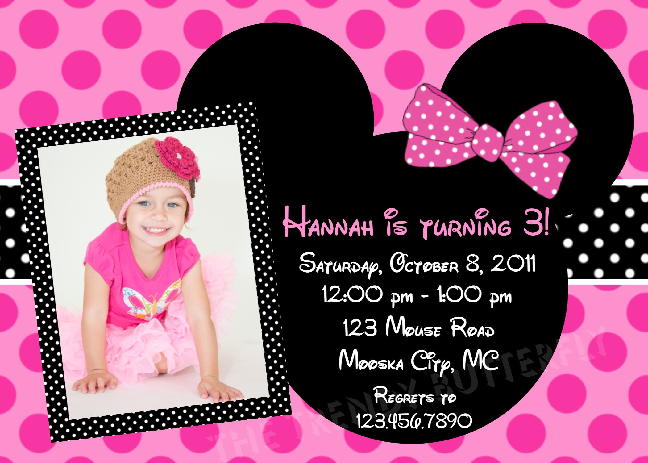Create Minnie Mouse Birthday Invitations Modern Designs