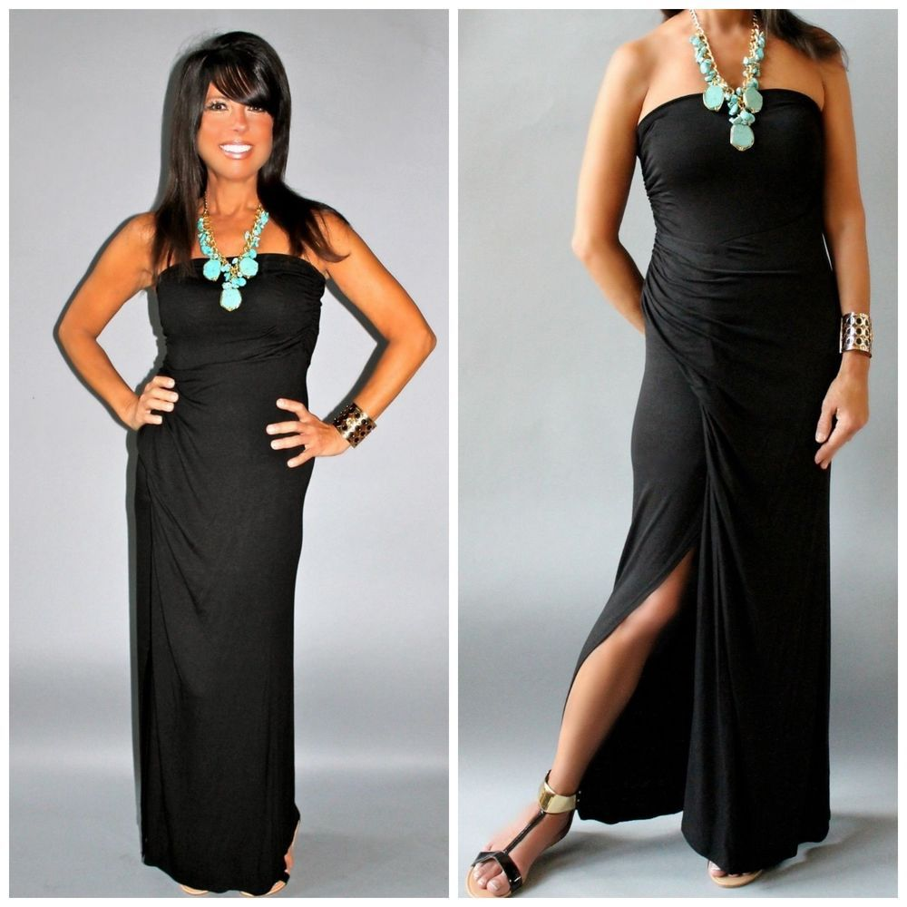 Convertible solid black maxi skirt strapless maxi dress full length