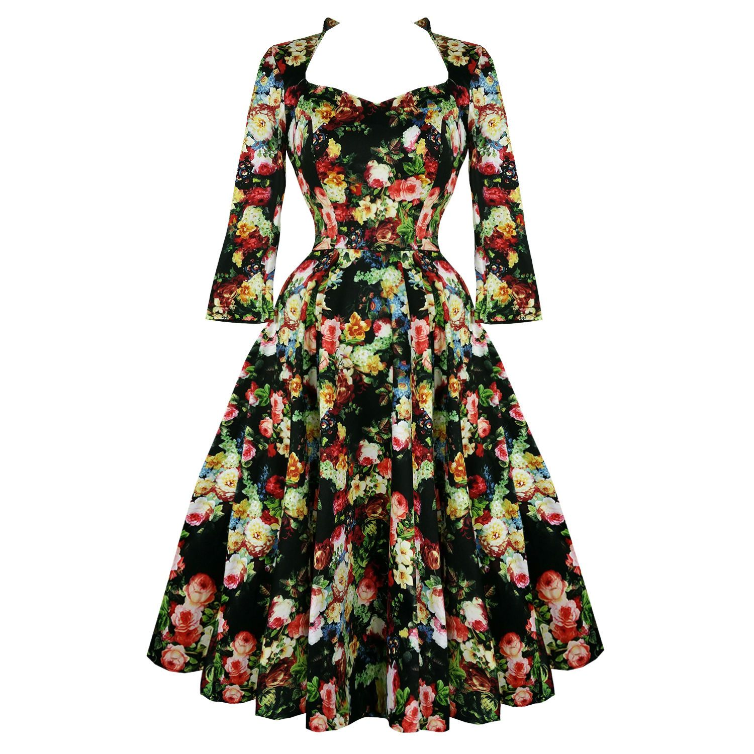 Details About Hearts Roses London Antique Rose Floral Chintz Retro 1950s Flared Tea Dress Uk Platya Moda