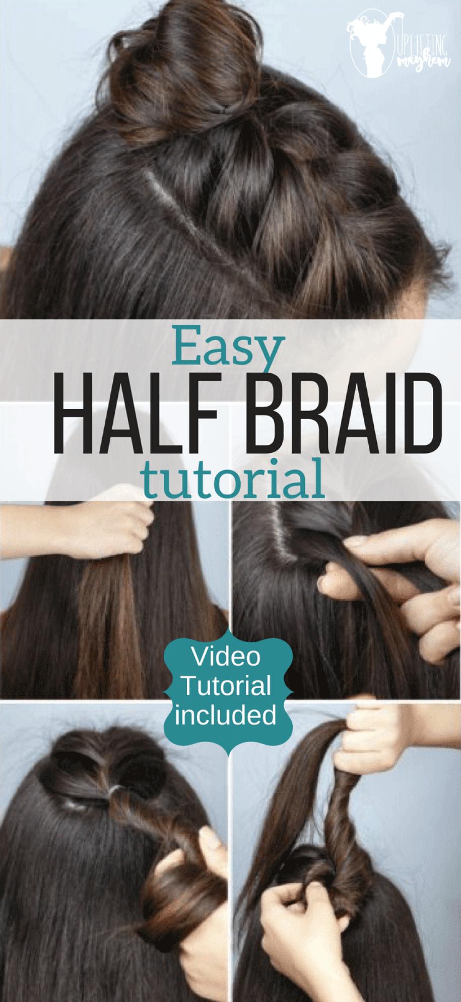 Easy Half Braid Hairstyle Tutorial Video Hairstyle Tutorial Braided Hairstyles Tutorials Half Braid Hair Tutorial
