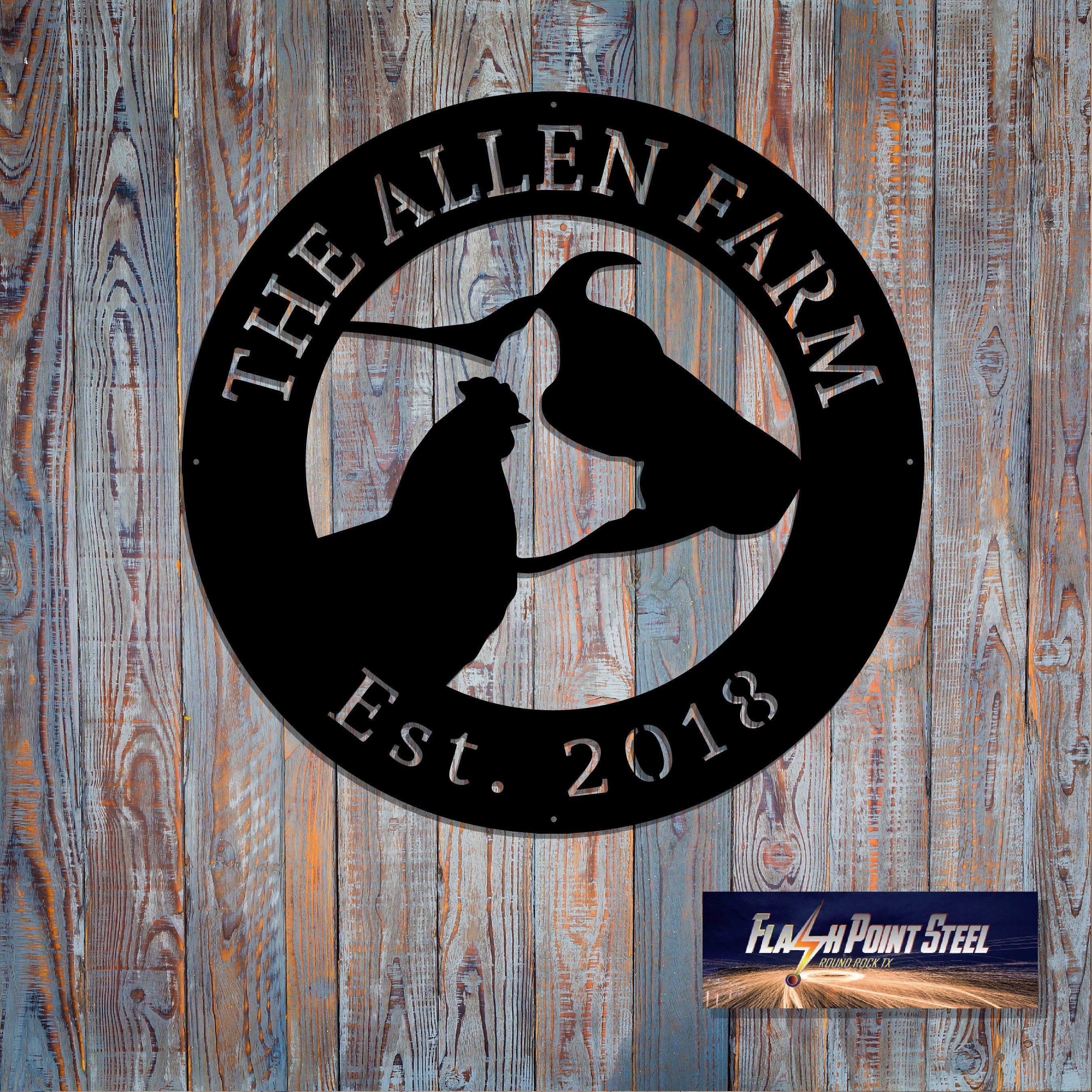 Animal Farm sign, Personalized, Customizable , Established, Plasma cut steel sign, cow, pig, chicken, animal farm sign, metal art, farmhouse