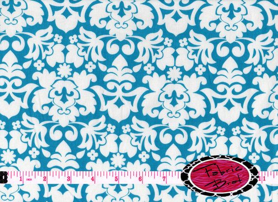 Designer Fabric by the yard Turquoise and White by FabricBrat, $7.49