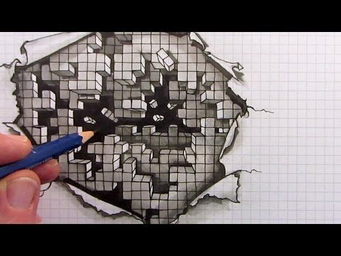 How To Draw An Optical Illusion Falling Cubes On Square Grid Paper