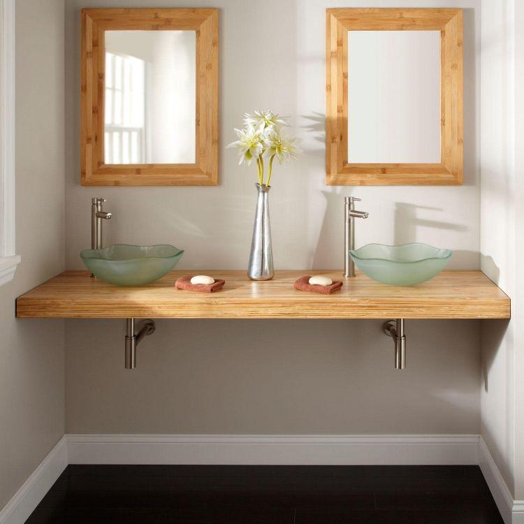 simpler doppelter waschtisch mit zwei waschbecken aus glas, Hause ideen