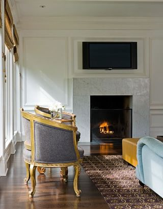 simple marble slab fireplace surround with no mantel, traditional ...