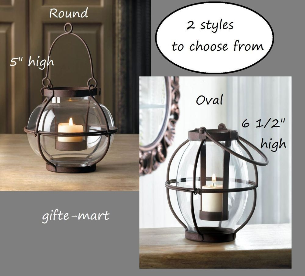 Details About Vintage Style Rustic Iron Glass Nautical Railroad Hanging Candle Holder Lantern