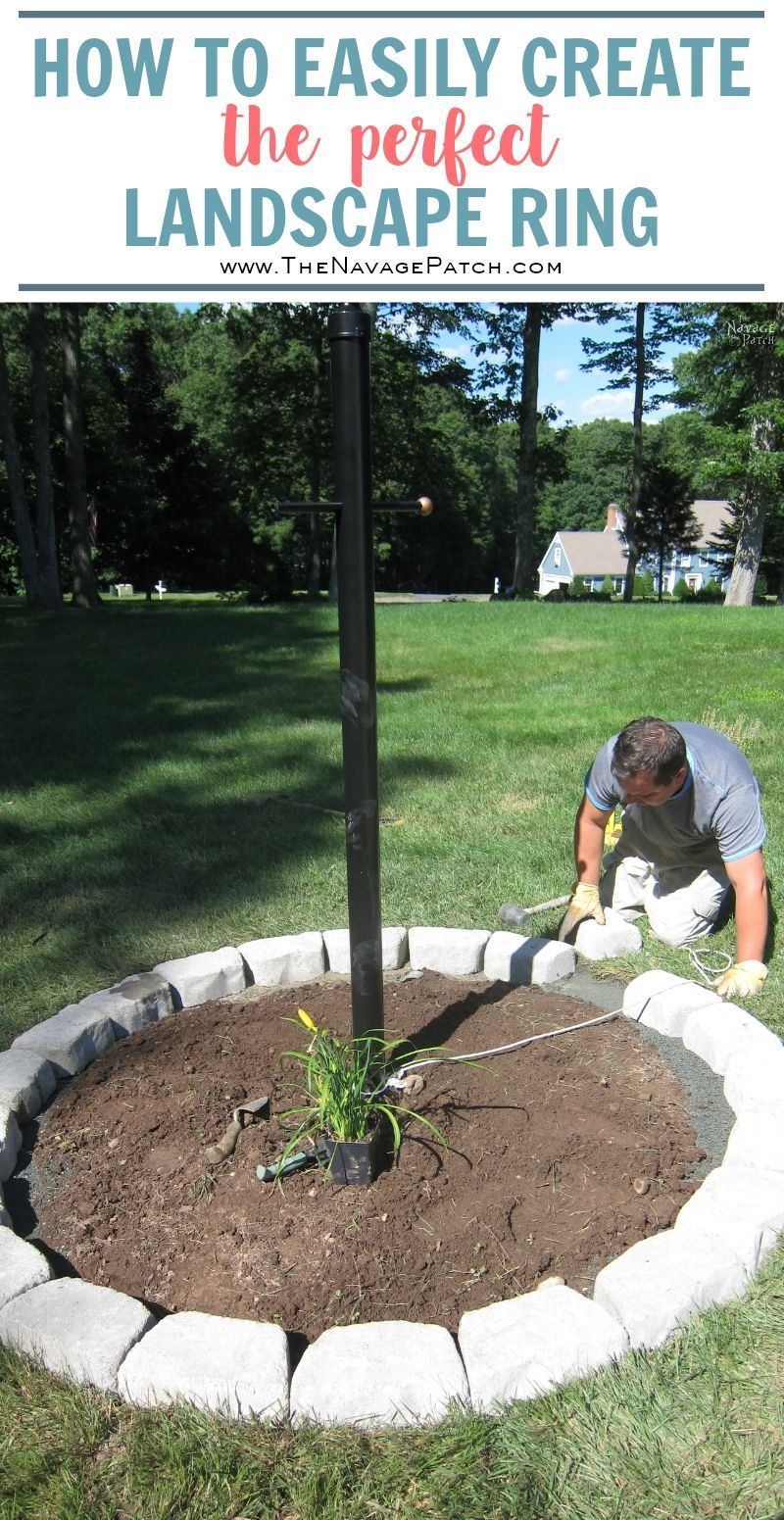 Lamp Post Makeover And How To Create A Perfect Circle Flower Bed Gardening Design Diy Diy Landscaping Backyard Landscaping