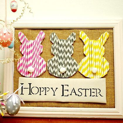 Colorful, chevron Paper Straw Bunnies craft for decorating a door or wall for Easter