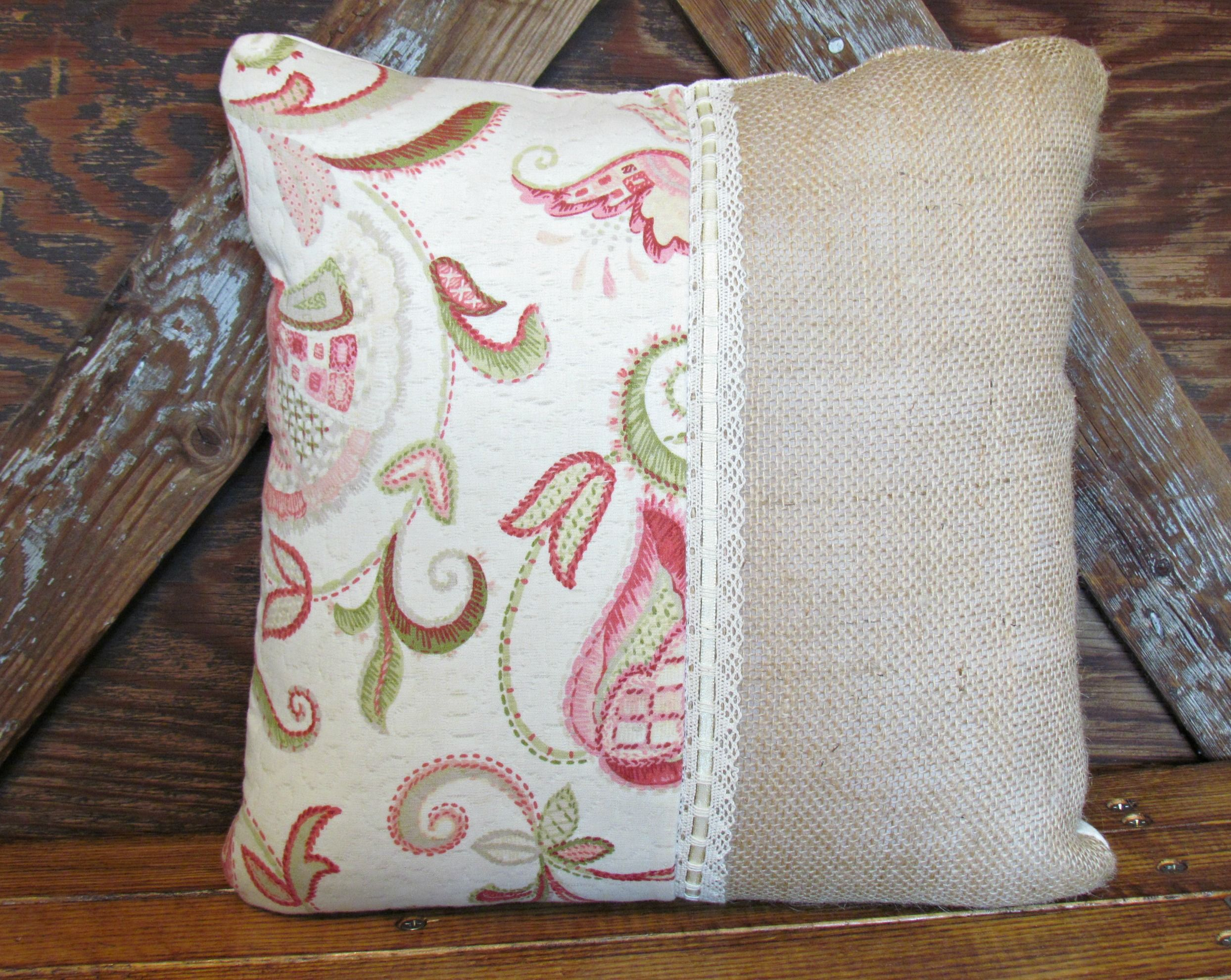 shabby chic burlap pillow home burlap pillows handmade pillows rh pinterest com