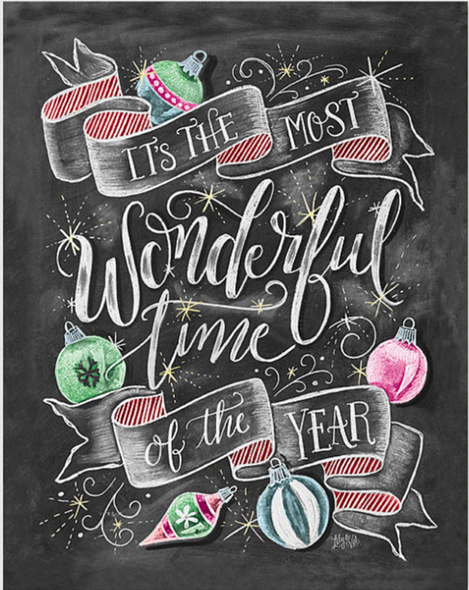 It's the Most Wonderful Time of the Year Christmas chalkboard art printable.