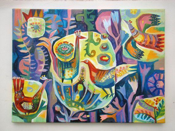 Origineel olieverfschilderij vogels en bloemen van de door ZoraArt