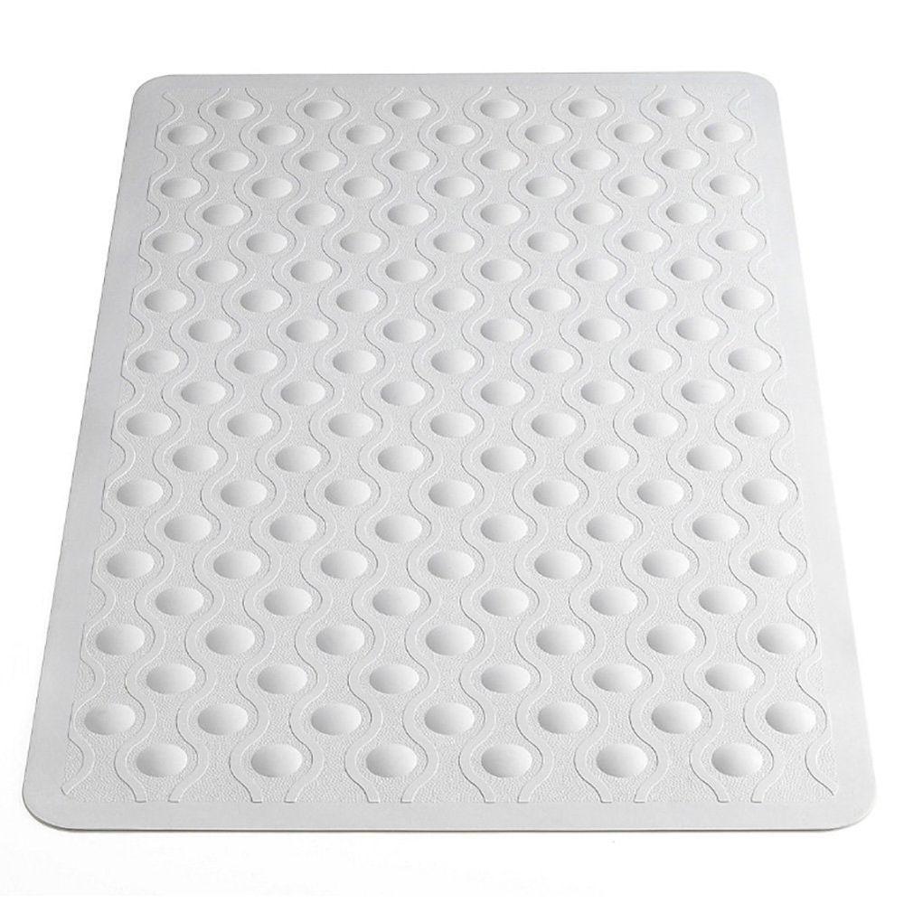 Bubble Bath Mat Non Slip Solid Durable Rubber Material Made White