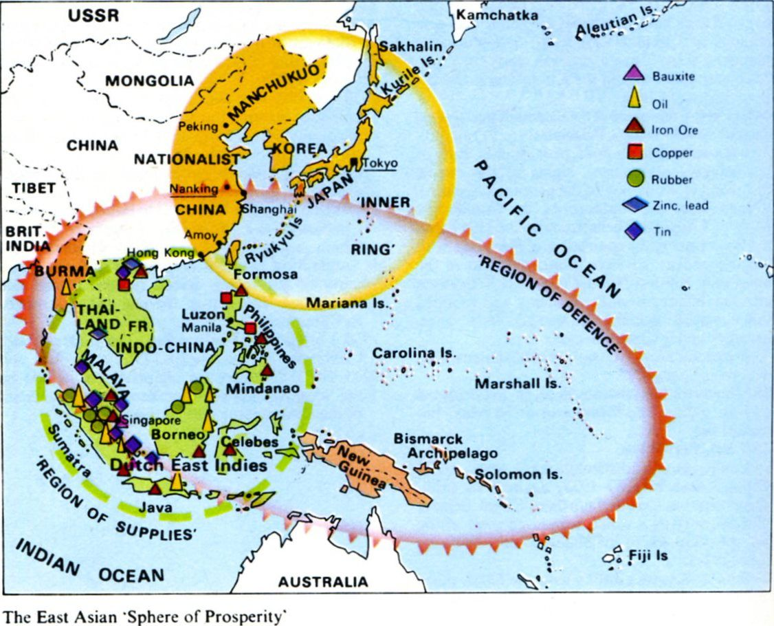 Map Showing Japanese Wartime Strategy World War II In - World map us and japan
