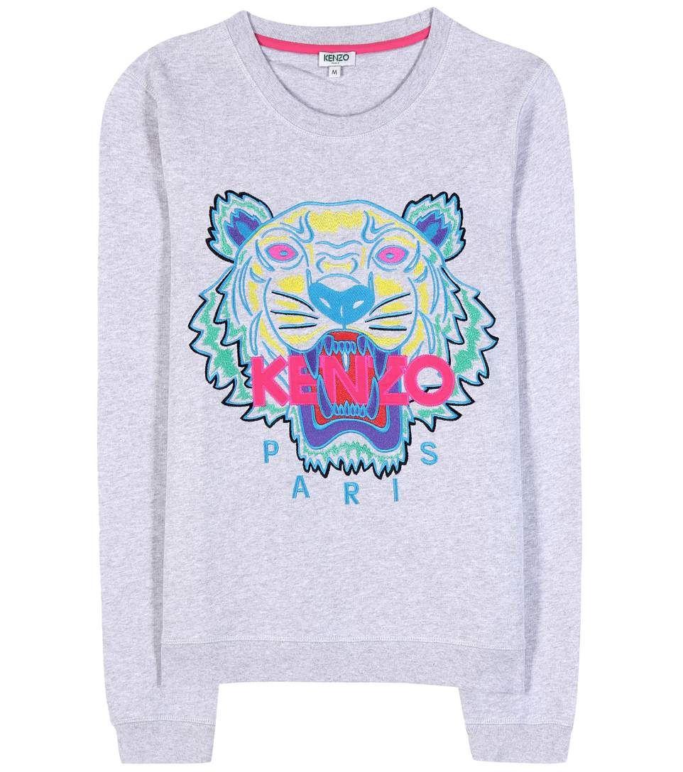 8d988935d94 Pull en coton gris chiné à broderies multicolores Sweat Kenzo Femme
