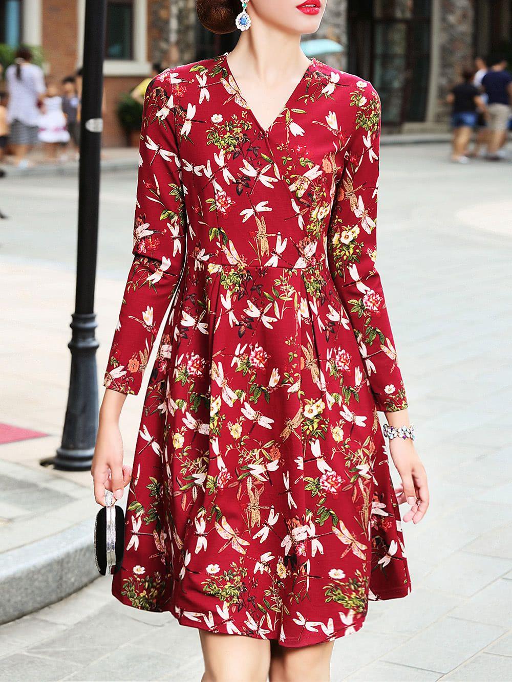 V Neck Flowers Print Dress Summer Dresses For Women Dresses Flower Print Dress [ 1333 x 1000 Pixel ]