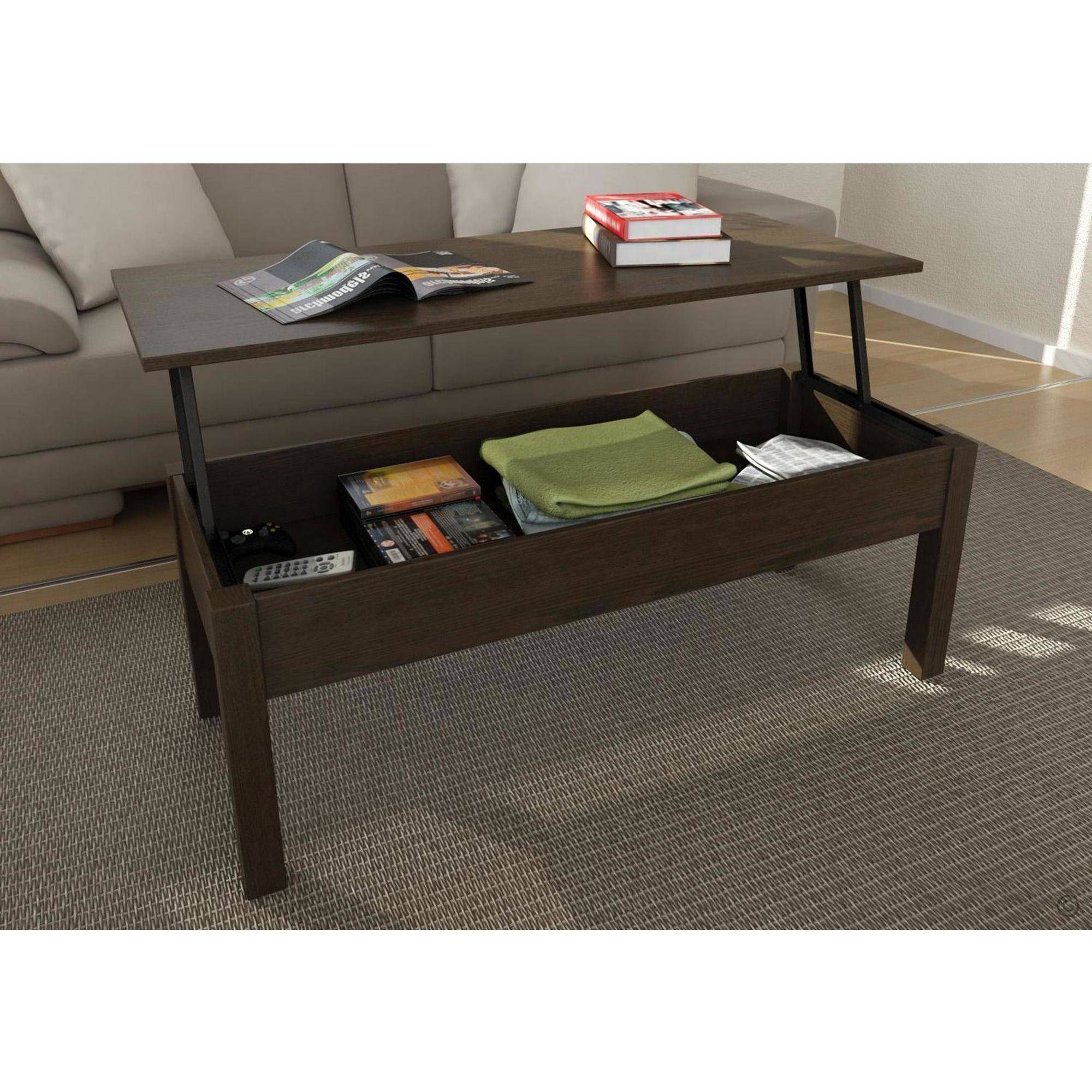 Tables Rectangle Brown Contemporary Espresso Wood Mainstays Lift Top