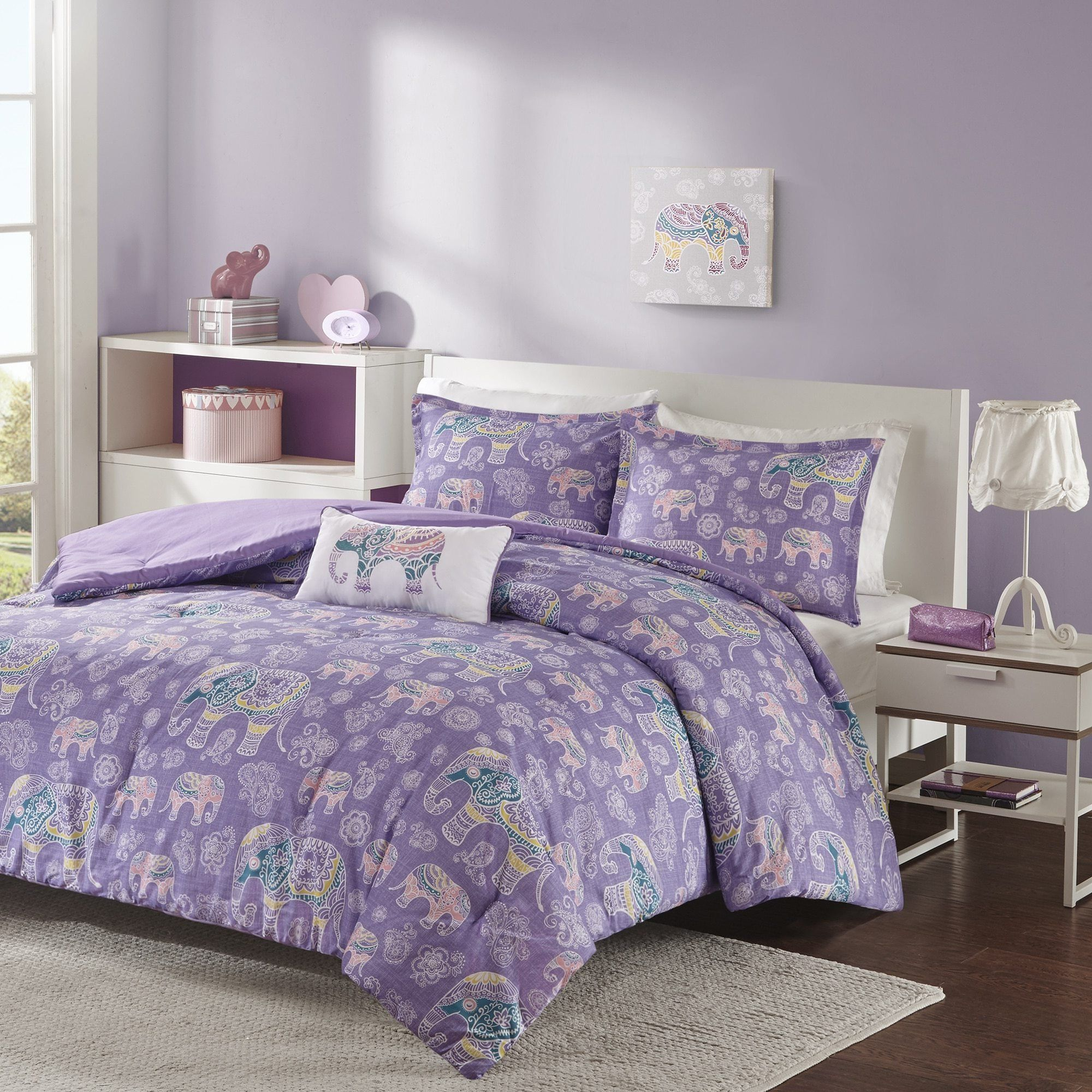 4 Piece Girls Light Purple Boho Chic Elephant Theme Comforter Full Queen Set Beautiful All Over Bohem Floral Bedding Twin Xl Comforter Elephant Theme