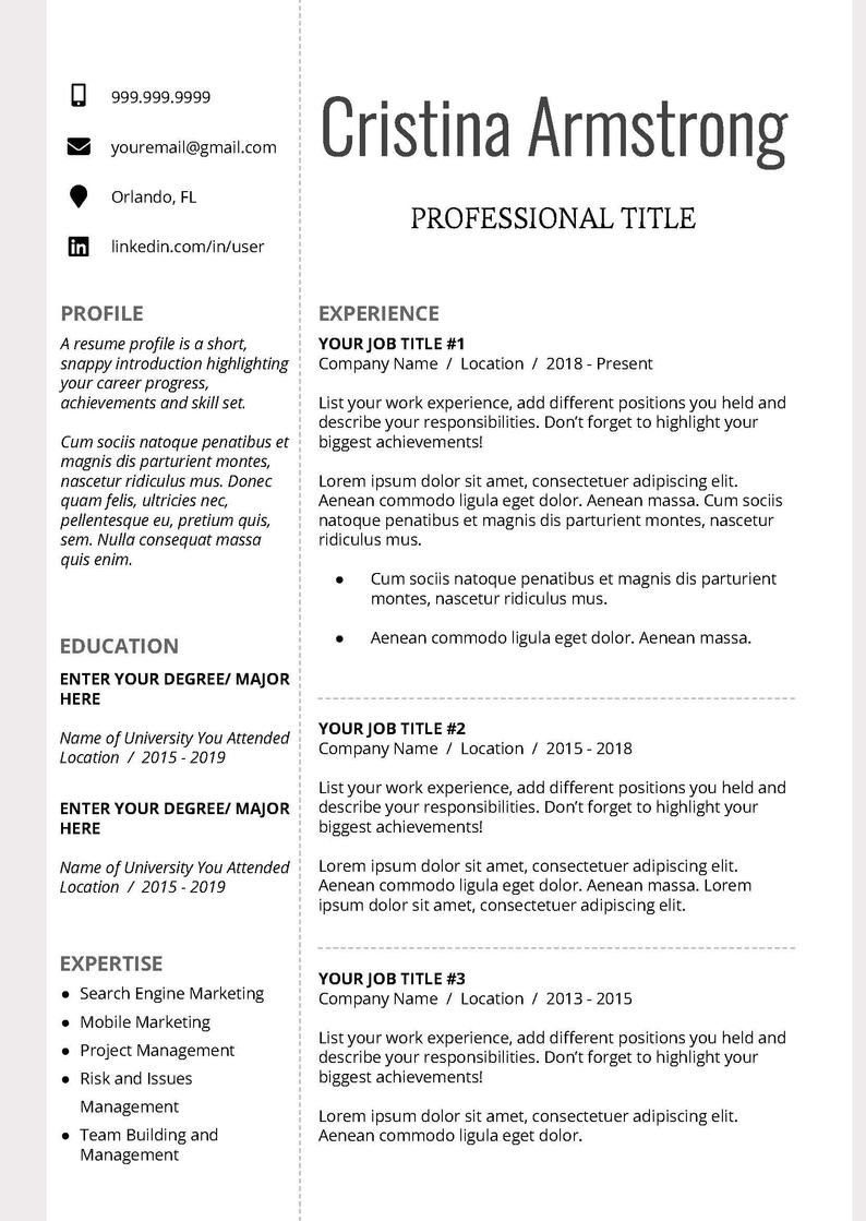 Resume Template, Professional Resume Template, Creative