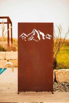 Edelrost Sichtschutzwand Gebirge Edelrost