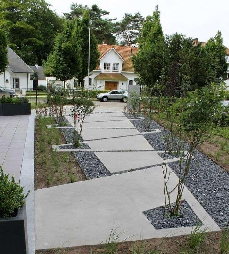 jardin moderne avec du gravier décoratif, galets et plantes, Garten dekoo
