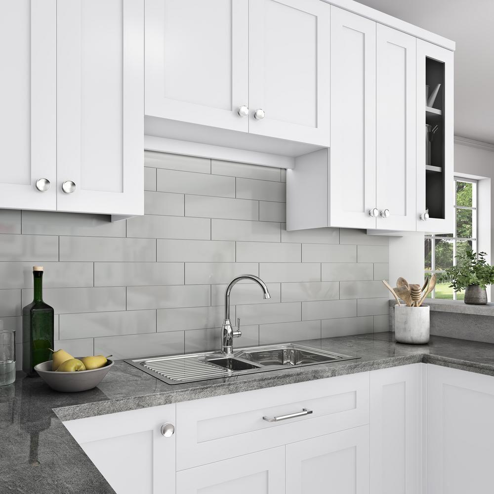 Daltile Restore 4 In X 16 In Glazed Ceramic Ash Gray Subway Tile 13 2 Sq Ft Case X1144161p2 The Home Depot Grey Tile Backsplash Kitchen Gray Kitchen Backsplash Backsplash Kitchen White Cabinets