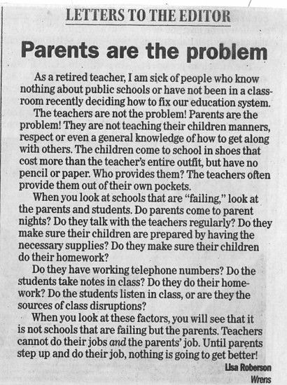 Retired Teacher Wrote A Blunt Letter About Parents That Has The