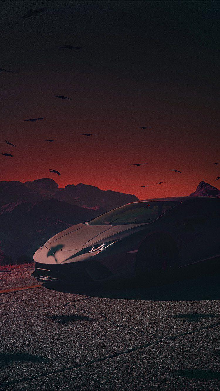Be74 Car Lamborghini Dark Sunset Art Illustration Red Black Car Wallpaper Lamborghini Wallpaper Iphone Sunset Art