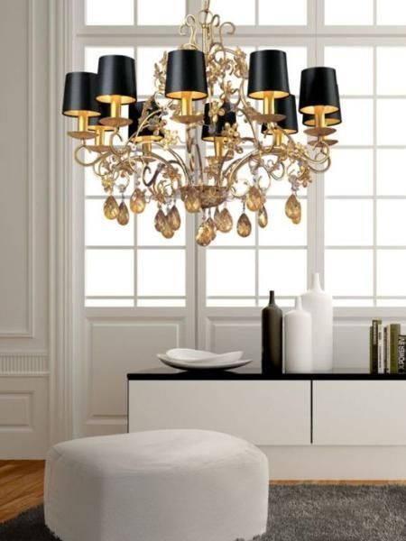 Chandeliers With Lamp Shades: black and white room decor with large chandelier and black lamp shades,Lighting