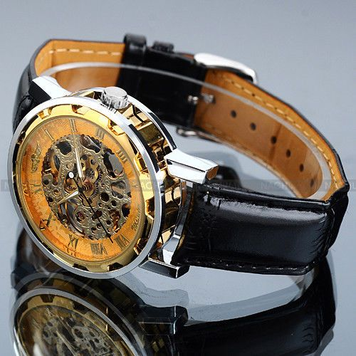 Classic-Mens-Gold-Dial-Skeleton-Black-Leather-Mechanical-Sport-Army-Wrist-Watch