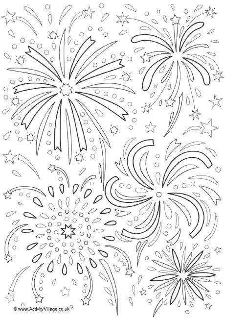 Fireworks colouring page 2 Oakfield