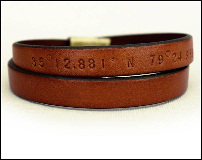 e3ad37e162279 Men's Personalized Leather Bracelet, GPS Coordinates Bracelet ...