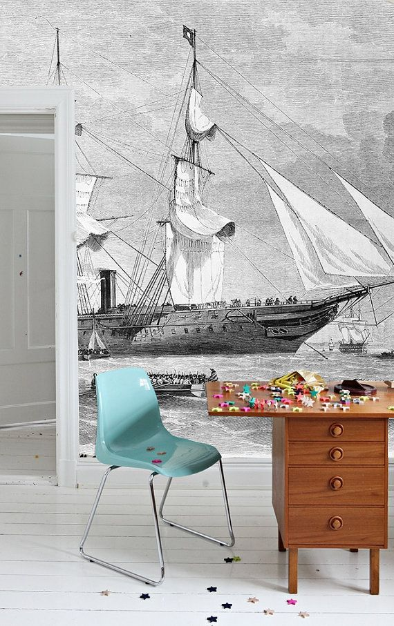 ships mural black and white wallpaper vintage illustration int rieur pinterest papier. Black Bedroom Furniture Sets. Home Design Ideas