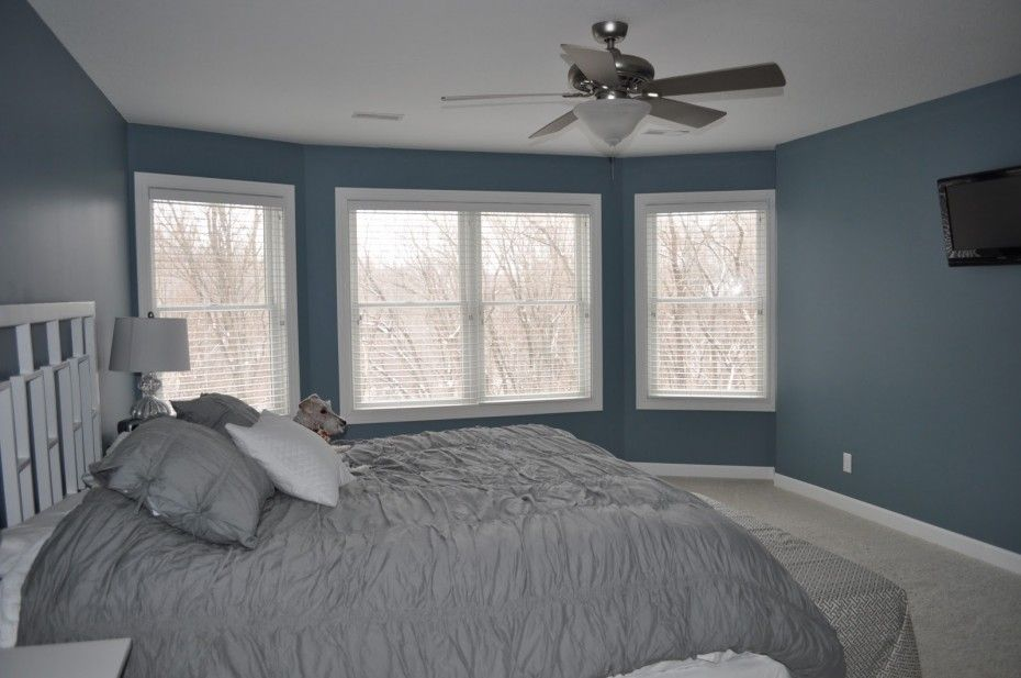 Elegant Grey Curtains Bedroom in Modern Home: Amazing Grey Curtains Bedroom  Blue Marine Wall Fan