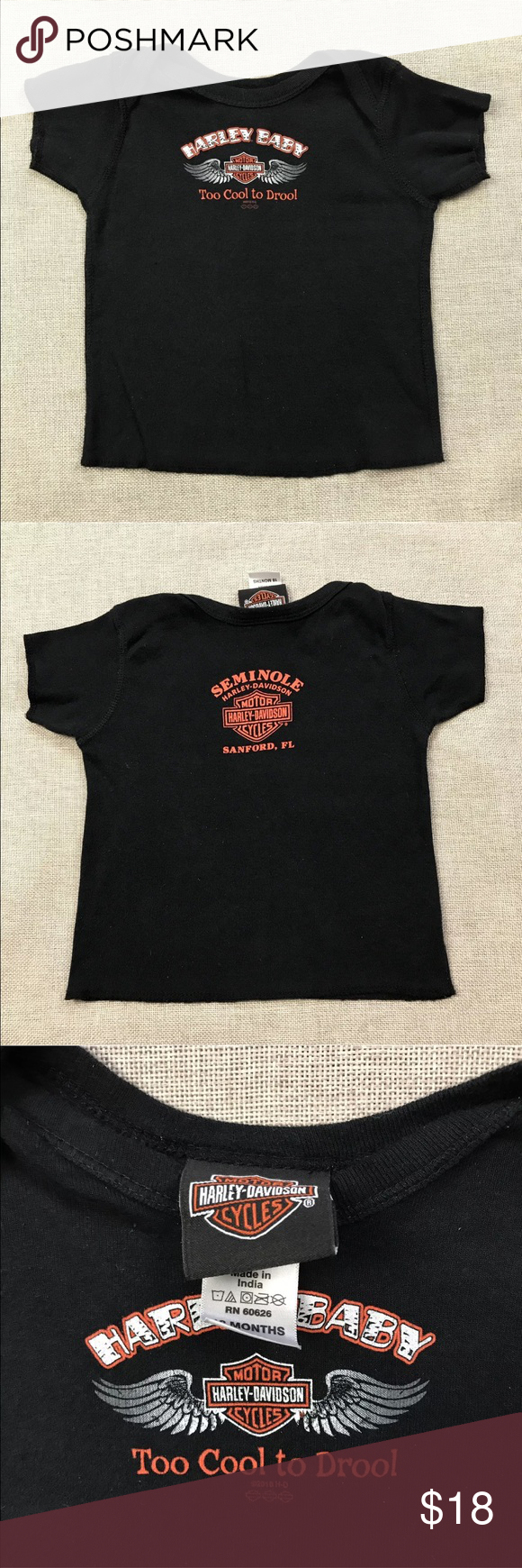 """NWOT Harley Davidson Baby T-Shirt Harley Davidson Baby T-Shirt  Baby's Size: 18M  Very Good Condition! No flaws.  100% Cotton  Measurements lying flat: Shoulder to Shoulder 9"""", Armpit to Armpit 11"""", Sleeve's Length 3"""", Length 12"""".  Please, review pictures. You will get the item shown. Smoke & pet free home.                                                                           ❤️ Save, Save , Save! ❤️ 💵💰 30% off 3+ Bundles 💰💵 Harley-Davidson Shirts & Tops Tees - Short Sleeve"""