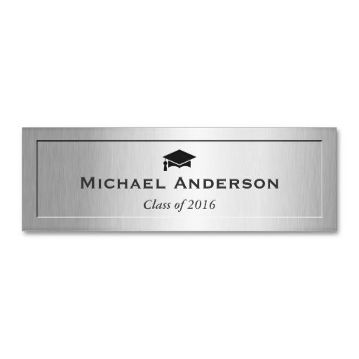silver metal embossed senior graduation name card business card template this is a fully customizable business card and available on several paper types