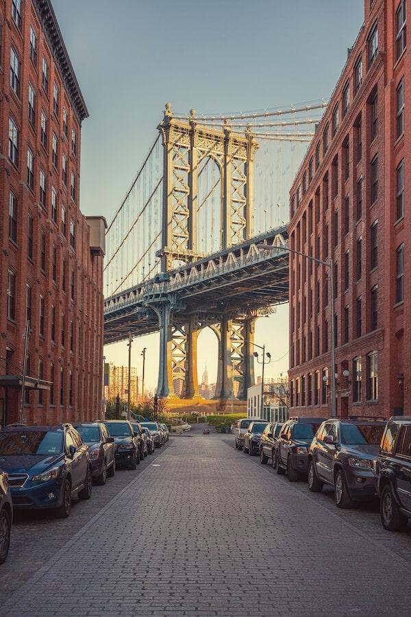The instagram famous photo of the Brooklyn Bridge taken from a street Downtown Brooklyn. Read what to do in Downtown Brooklyn. #Brooklyn #NYC #Travel