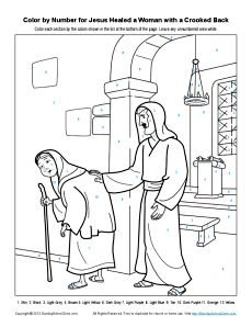 Bible Coloring Pages For Kids Jesus Healed A Woman With Crooked Back Color By Number Page