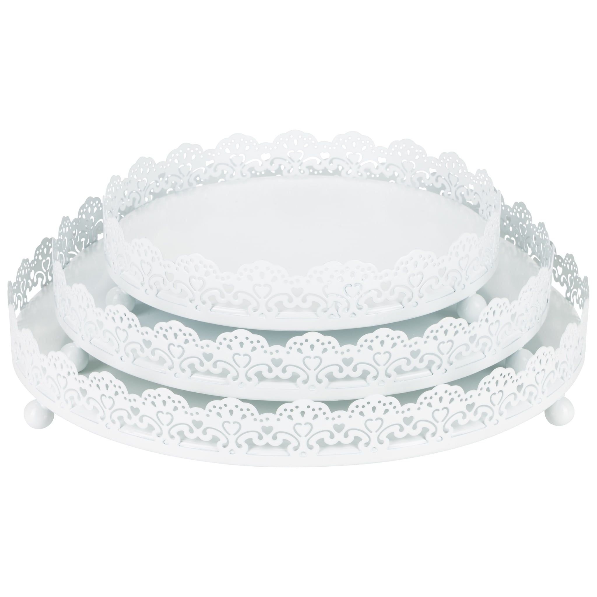 White Decorative Tray Inspiration 3Piece Round Metal Decorative Tray Set White  Decorative Trays Review