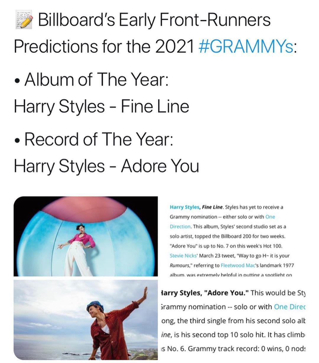 Just Imagine Harry Receiving Grammy In 2020 Album Of The Year Grammy Grammy Nominations