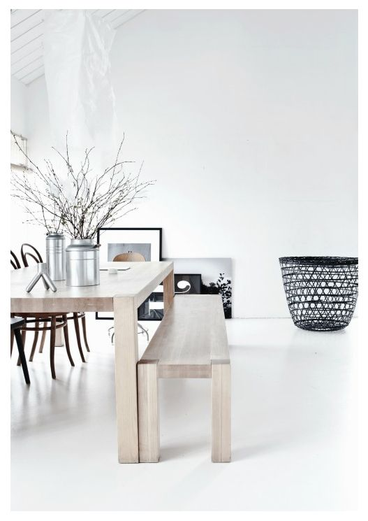 *styling, modern interior design, neutral color palette, dining tables, benches, wooden furniture*